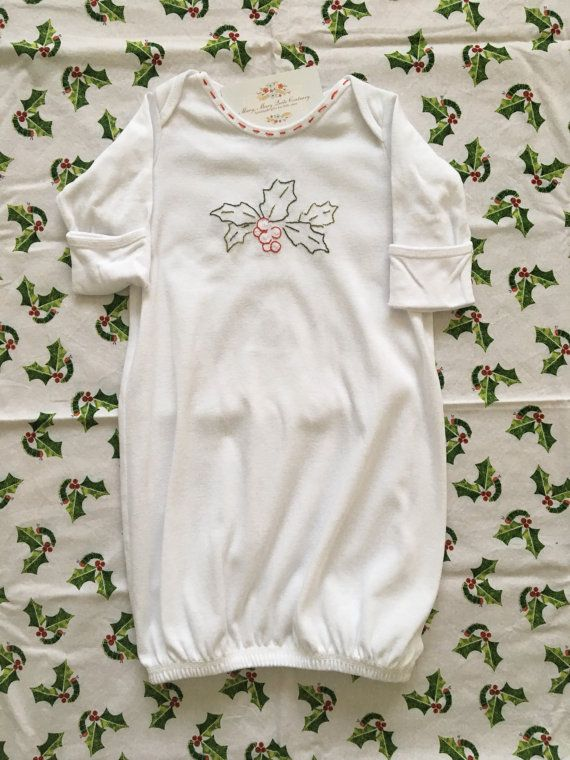 Hand Embroidered Holly and Berry White Cotton Baby by MaryEGuad ...
