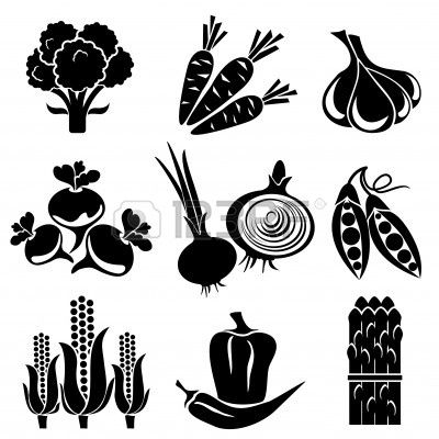 Set Of Silhouette Icons Of Vegetables Black And White Icons Silhouette Clip Art Clip Art Clip Art Pictures