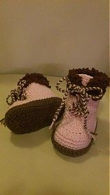Booties - Crochet boots - with fur - 3628481