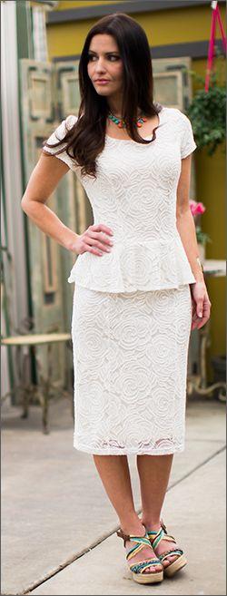 Different view: Sabrina Peplum Dress Mikarose Fashion, Reinventing Modest Fashion