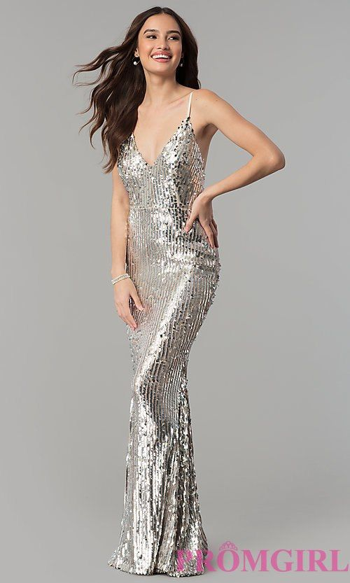Image Of Long V Neck Sequin Prom Dress With Open Back Style Lux