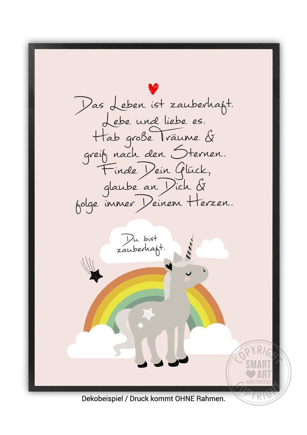 Digitaldruck Regenbogen Einhorn In Rosa Kunstdruck Ein