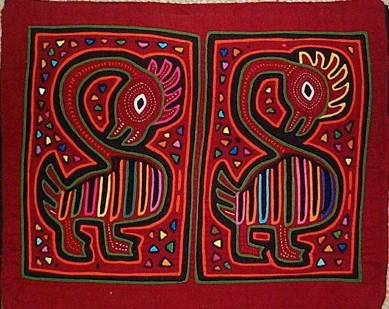 Pair of birds Mola made by Kuna (Cuna) Indian people of Panama's San Blas Islands.