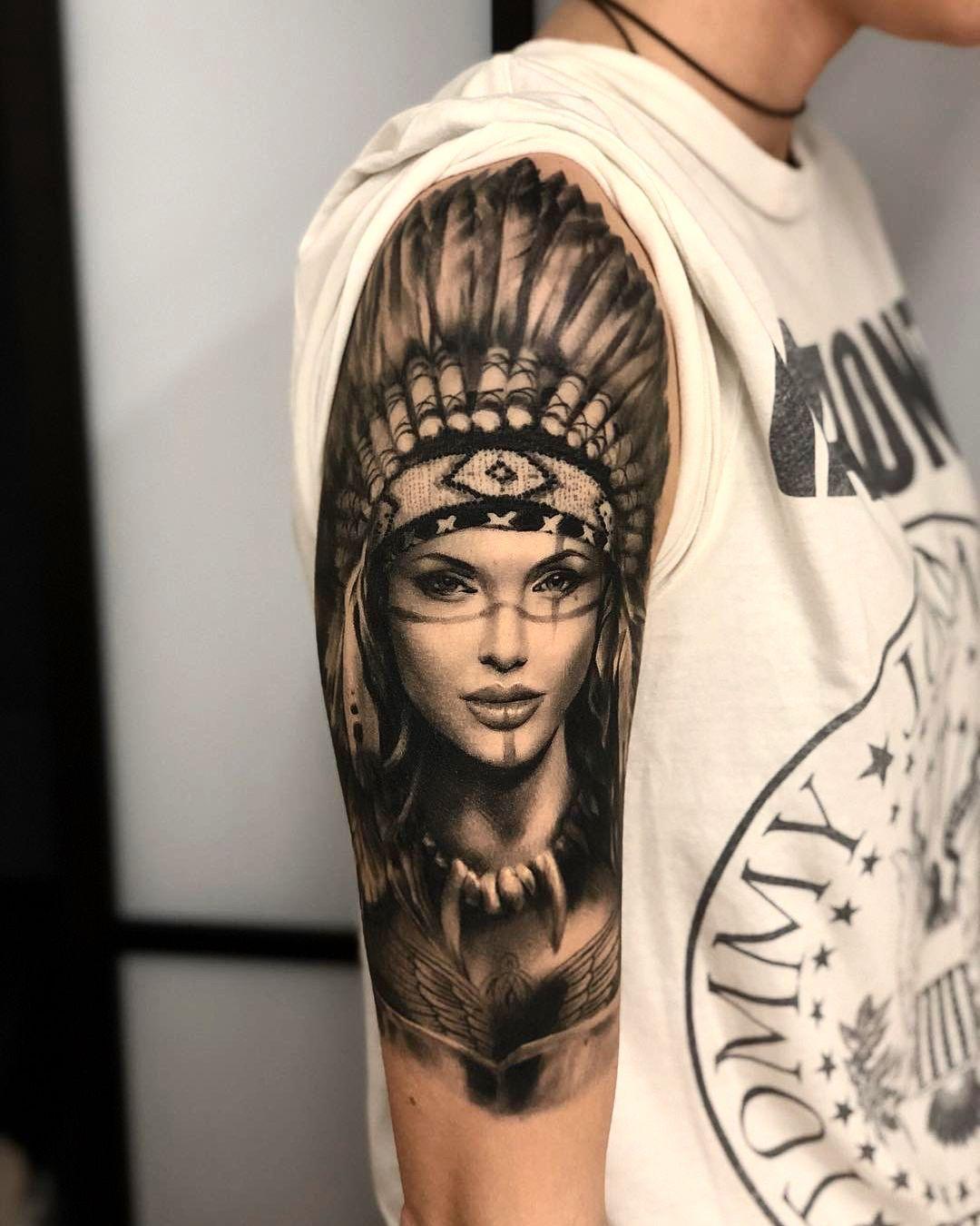 Hyper Realistic Portrait Tattoo Of A Native 1