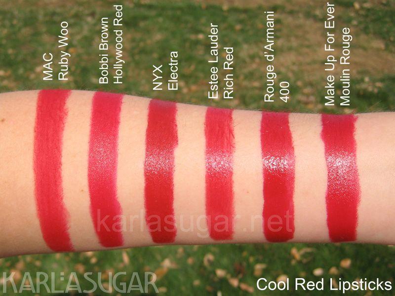 Lipstick Swatches Reds L R Mac Ruby Woo Bobbi Brown