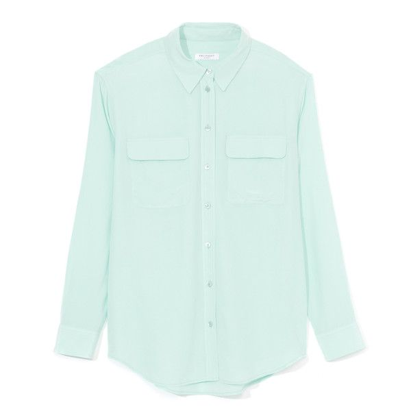 Equipment Ice Green Crepe De Chine Signature Blouse ($208) ❤ liked on Polyvore