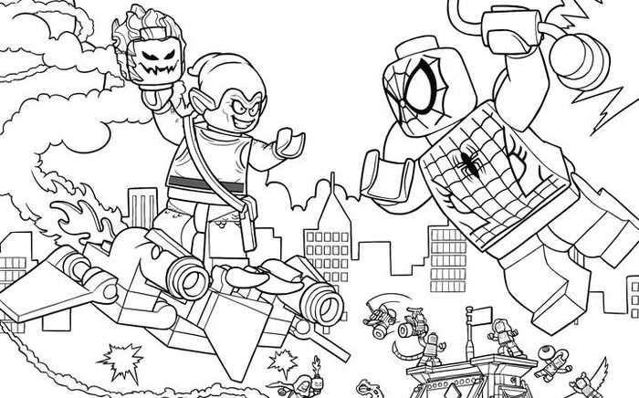 Lego Spiderman Green Goblin Scene Coloring Page Spiderman Coloring Avengers Coloring Marvel Coloring