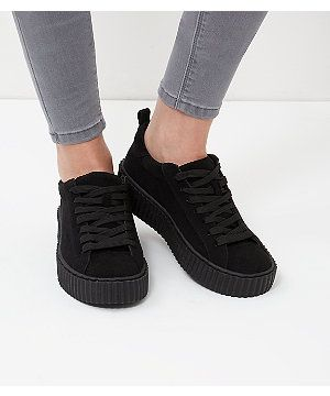 Look Wardrobe New Creepers Black Up Plimsoll Casual Lace wWBqwFSg