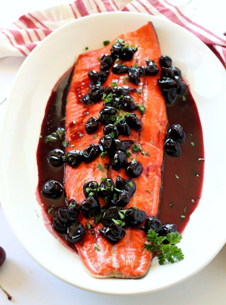 Alaskan Sockeye Salmon With Cherry Wine Sauce Recipe Cherry Wine Sockeye Salmon Recipes Food