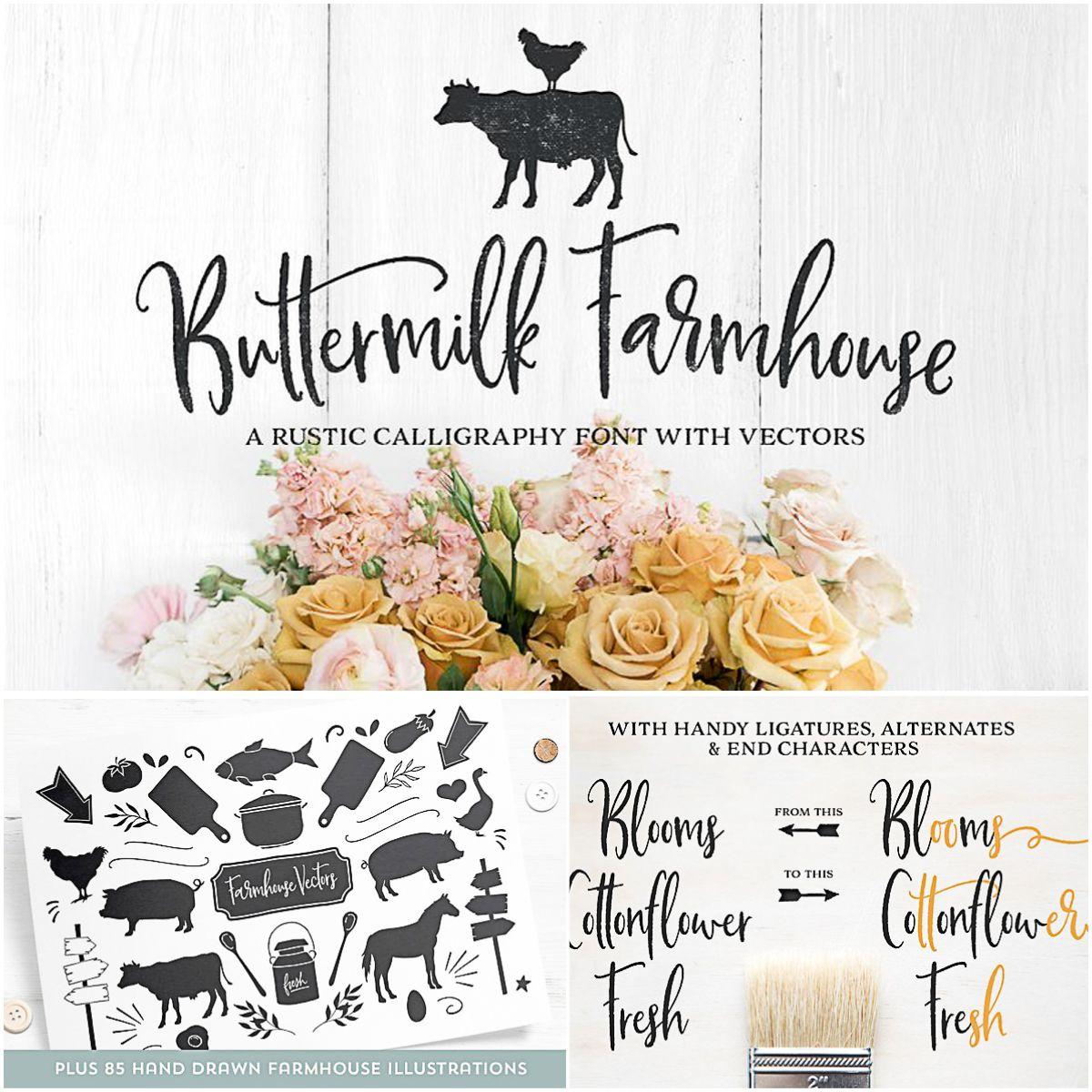Buttermilk Farmhouse Type Graphics in 2020 Free script