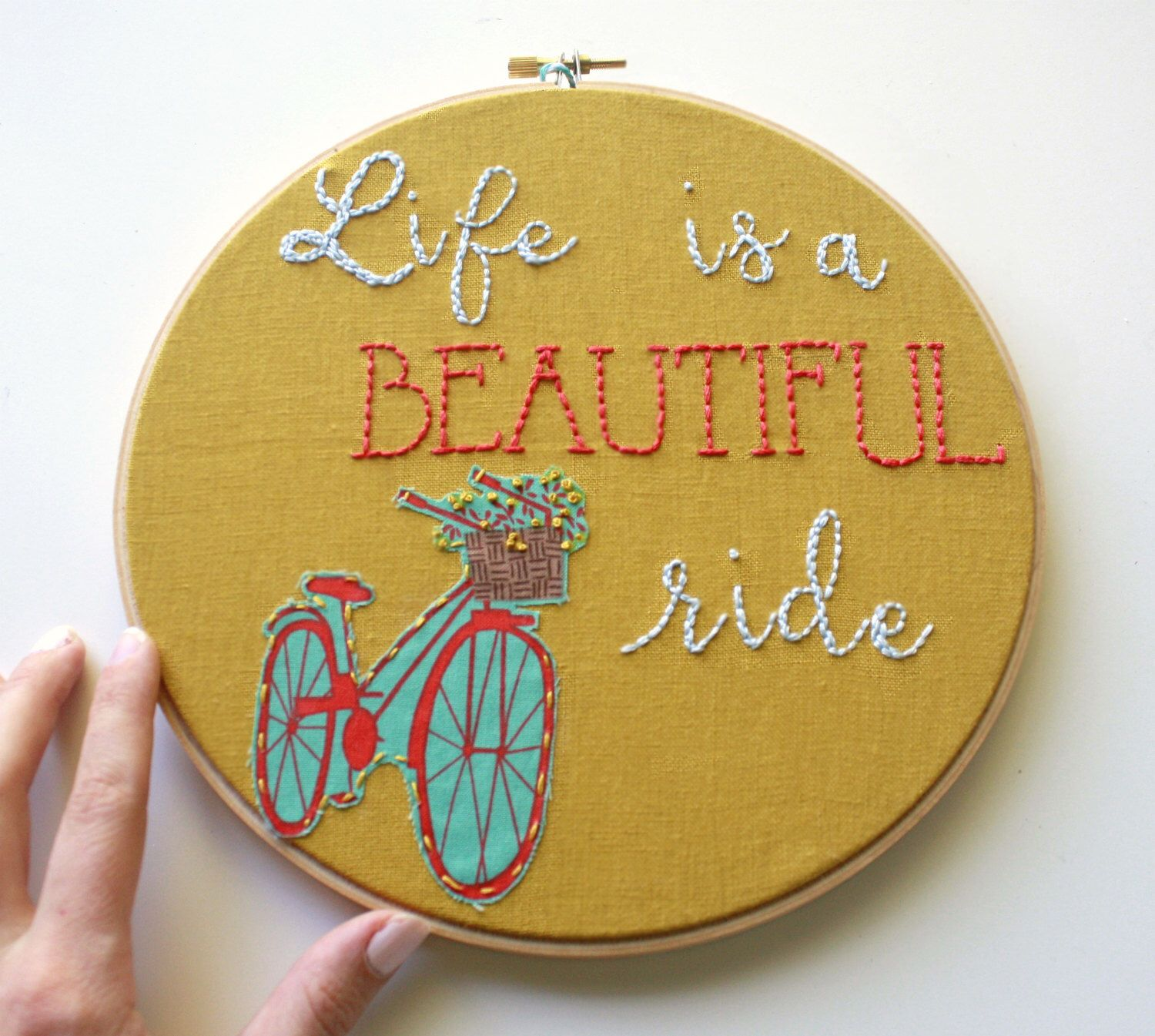 Life Is A Beautiful Ride, Embroidery Hoop,Bike Art,Quote Art ...