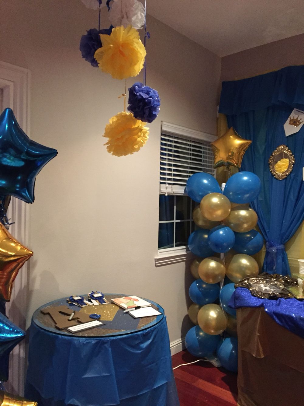 Royal Blue And Gold Sign In For Boy Baby Shower