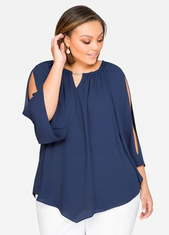 047440ca2c9 Clearance Womens Plus-Size Clothing On Sale. Peaked Drama Sleeve Blouse
