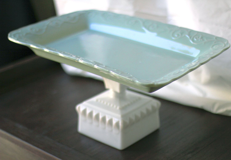 16\  Cake Pedestal Stand - Robin Egg Blue / Rectangle Cupcake Stand Dessert Pedestal / & 16\