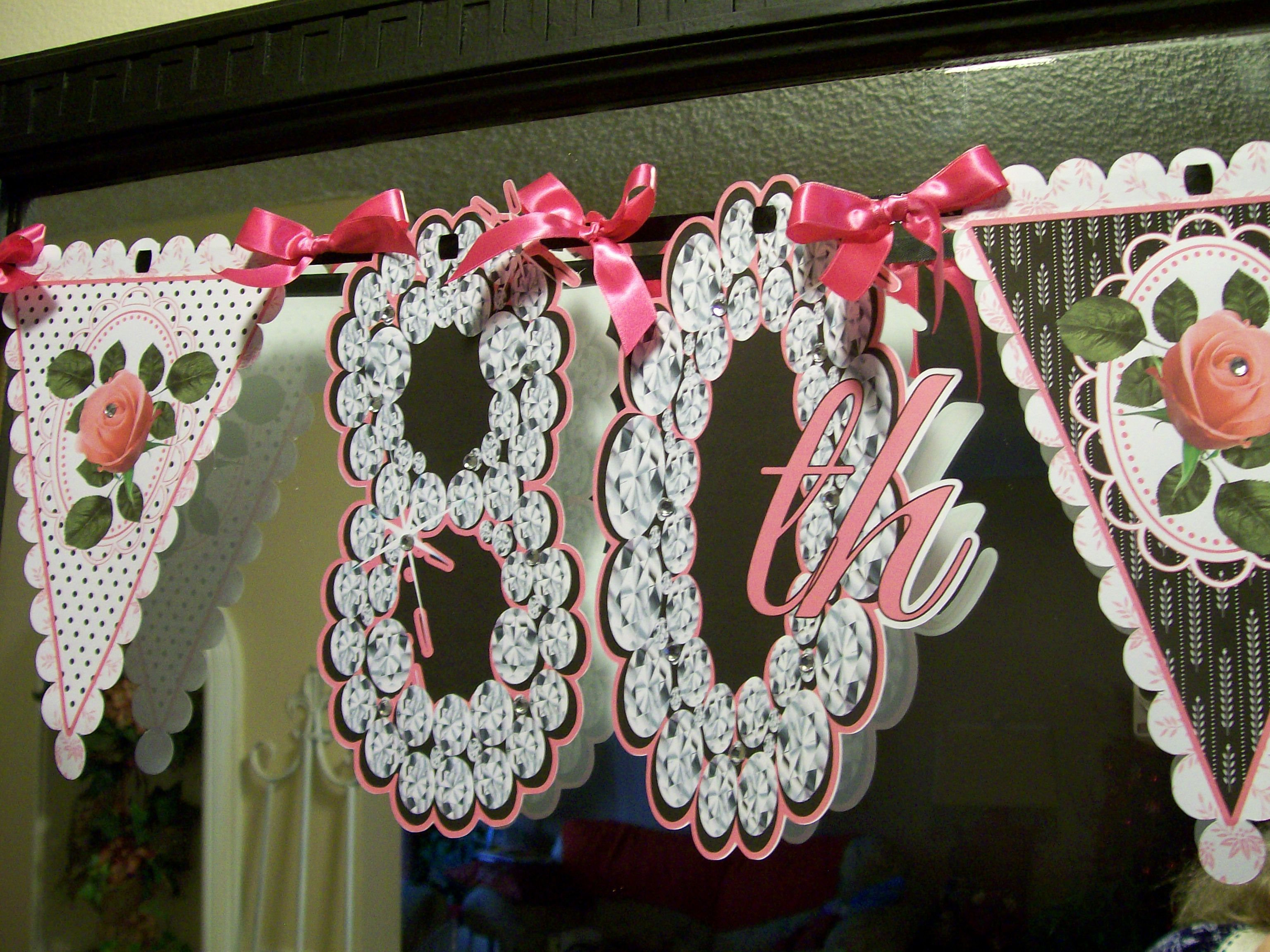 80th birthday borders and frames 80th birthday card - Happy 80th Birthday Bunting Banner With A Little Bling