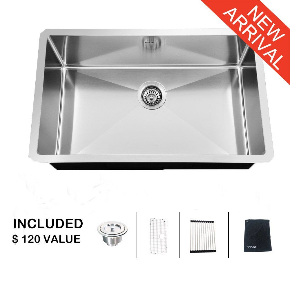 Commercial sink stainless steel 120 cm single bowl - Ufaucet Commercial 32 Inch 16 Gauge 10 Inch Deep Apron Undermount Single Bowl Stainless Steel Kitchen
