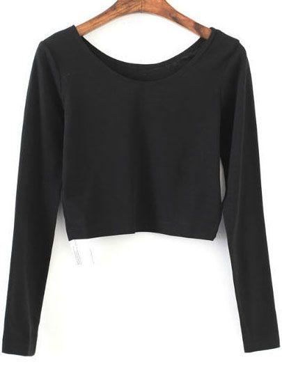 33786c5d71982 Camiseta corta de manga larga - negro -Spanish SheIn(Sheinside ...