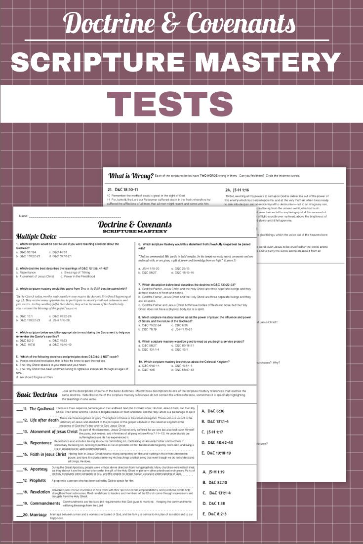 Doctrine And Covenants Doctrinal Mastery Quizzes And Tests Pdf
