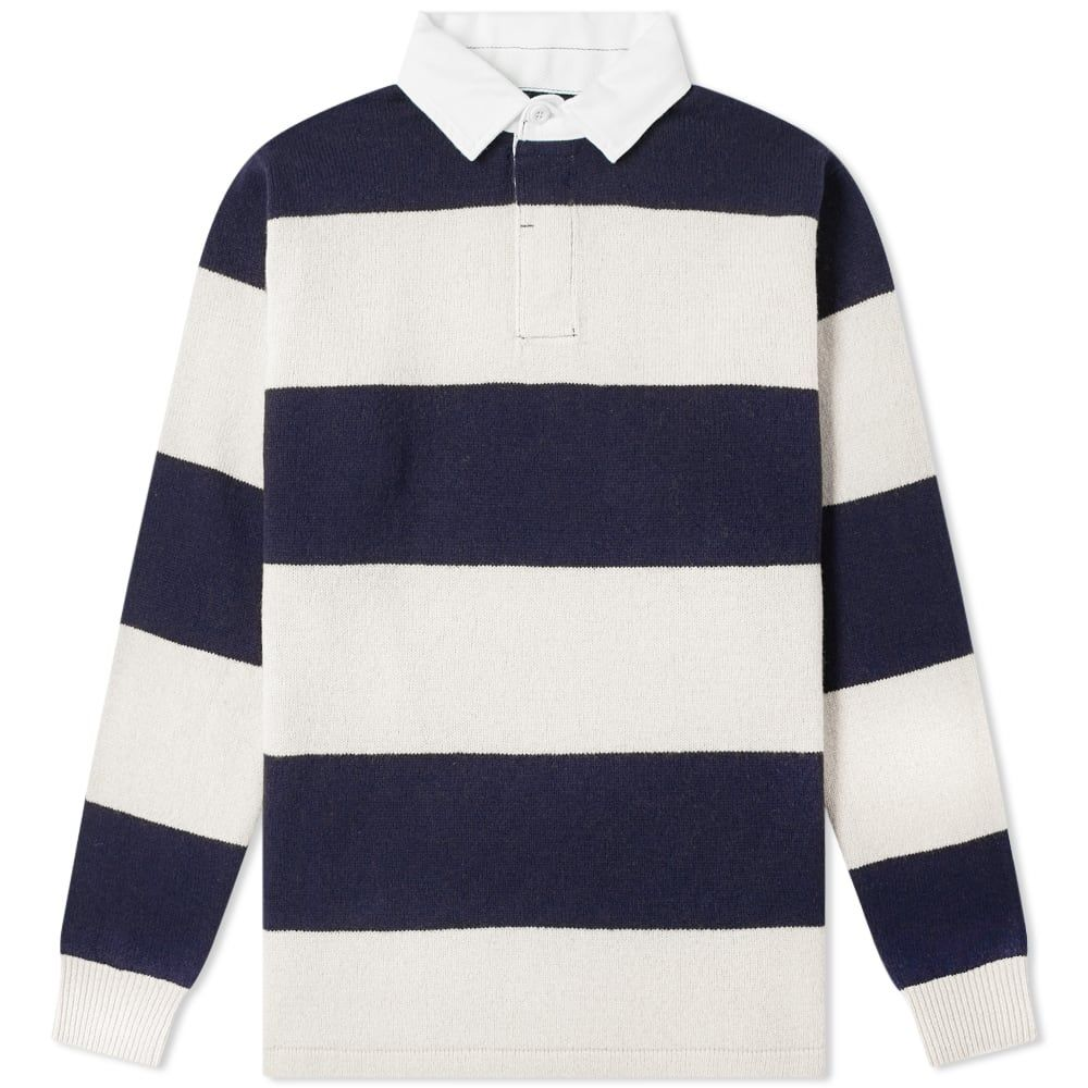 Beams Plus Knitted Stripe Rugby Shirt In Blue Rugby Shirt Classic Rugby Shirts Shirts