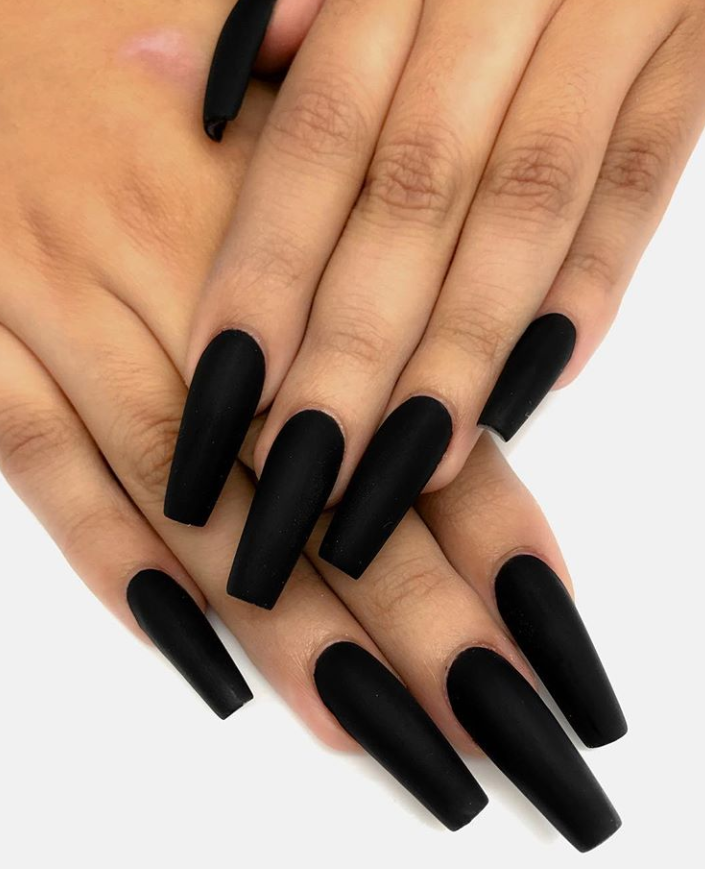 80 Matte Black Coffin Almond Nails Design Ideas To Try With Images Matte Nails Design Almond Nails Designs Coffin Nails Matte