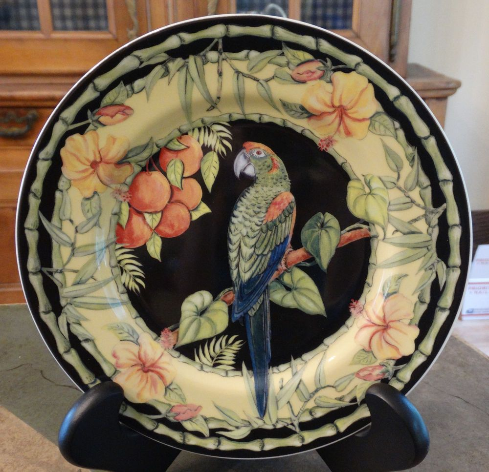 3a70500367 Andrea by Sadek Rare Siddhia Hutchinson Macaw Collection Plate Green ...