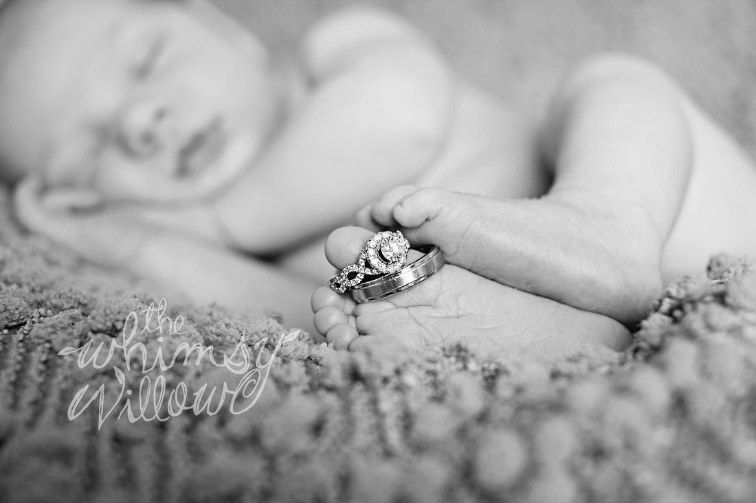 Newborn photography wedding rings posing ideas black and white www thewhimsywillow com