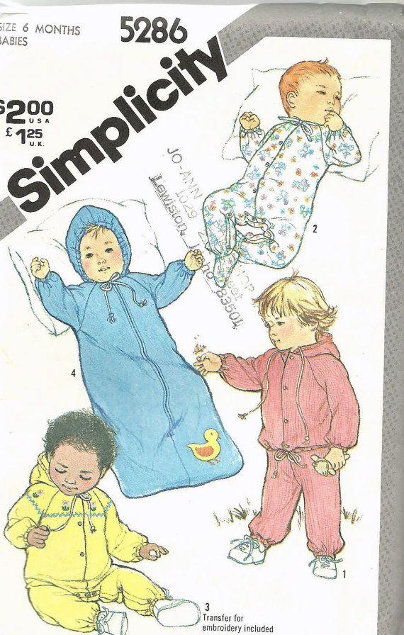 Uncut, Sz 6 month Vintage Sewing Pattern, Simplicity 5286, Baby ...