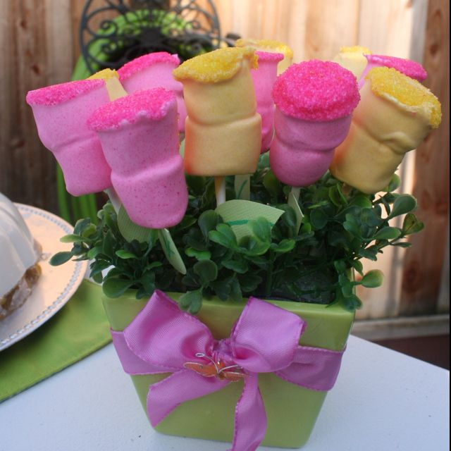 Here's a cute home made mothers day gift or a great centerpiece for your party. Use marshmallows and died white chocolate. Place the marshmallows on a stick and glue a paper leaf cut out and place into a pot with a floral foam cube cover with faux grass.