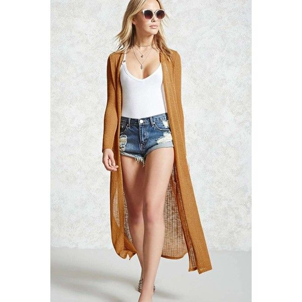 Forever21 Open-Front Duster Cardigan ($23) via Polyvore featuring ...