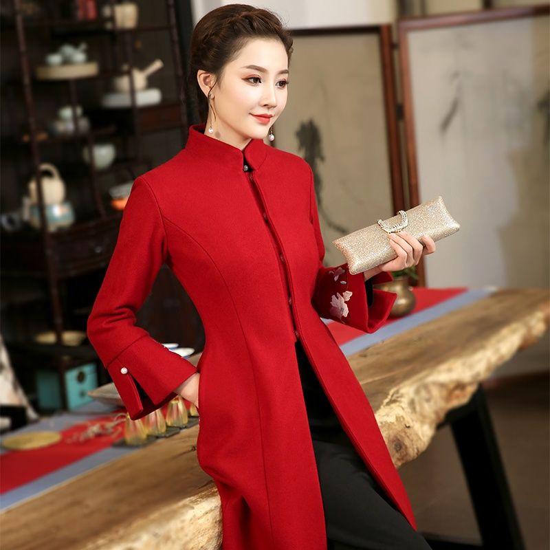0eaf2efc3e Gorgeous Red Stand-up Collar Bell Sleeve Long Coat - Chinese Jackets &  Coats - Women