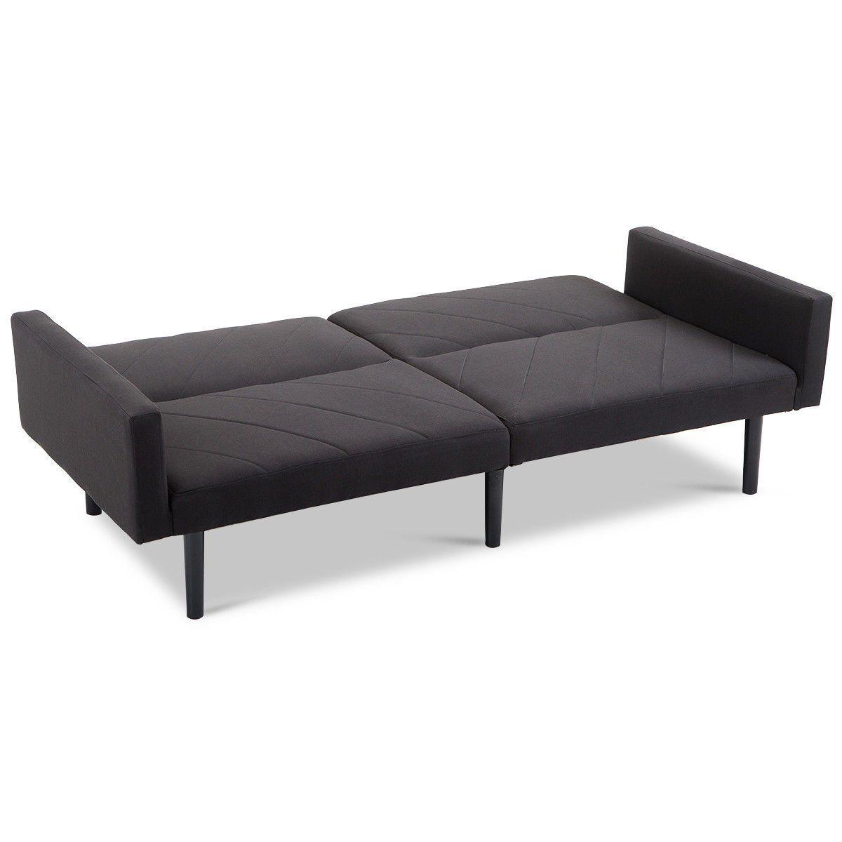 Black Convertible Linen Futon Sofa Bed Couch Wood Legs Split Backrest Recliner Lounger Splitback Sleeper 5 Reclining Ang Sofa Bed Black Futon Sofa Bed Sofa Bed