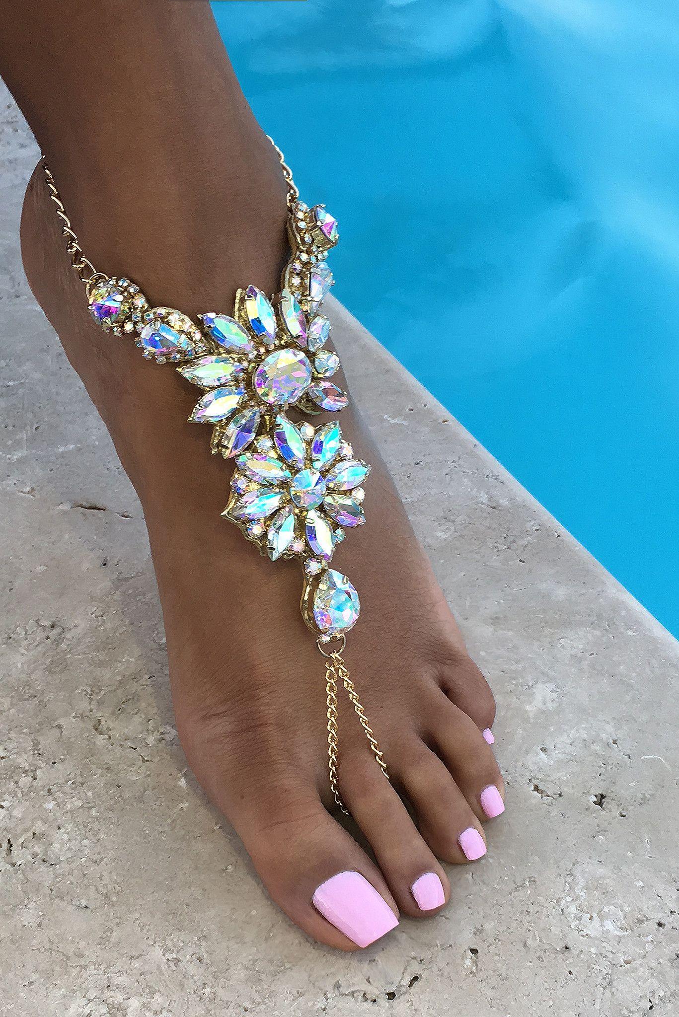 e51cbfe04efe Crystal Barefoot Sandals