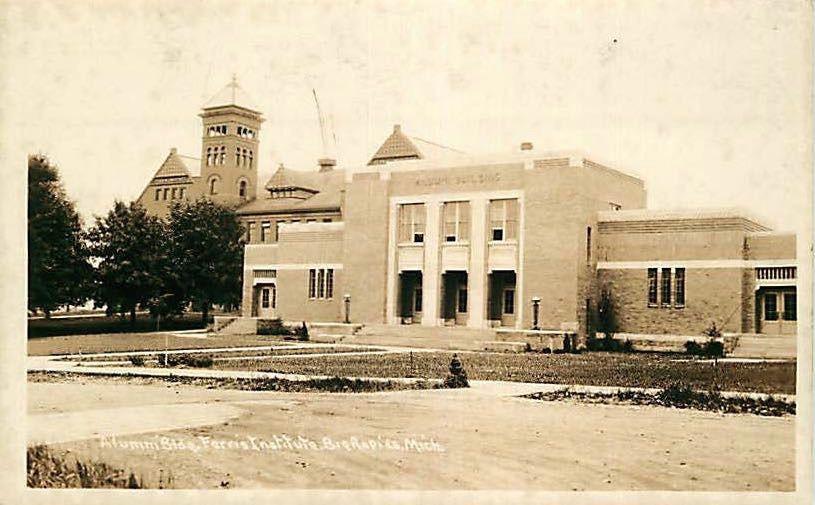 Real Photo Postcard Alumni Building Ferrist Institute, Big Rapids, Michigan '30s