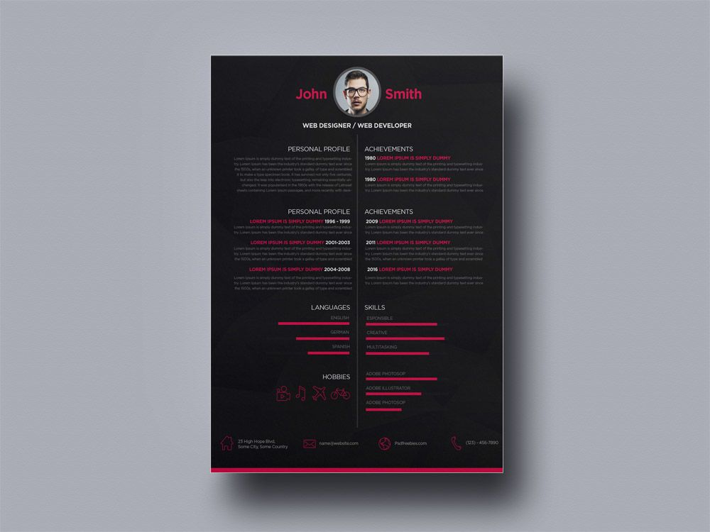 Free Dark Creative Resume For Web Designer Graphic Design Resume Resume Design Template Resume Design
