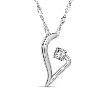 Fabulous 925 Sterling Silver Necklace, Platinum Plated Twig Pendant with AAA Zircon, Platinum; Size:about 450mm in perimeter; Pendant: 20x10mm.<br/>Priced per 1