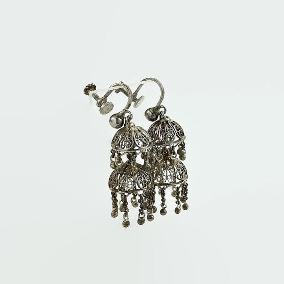 Sterling Victorian Filigree  Two Tier Dome Earrings   #VictorianFiligree #MultistrandEarrings #SilverBalls #TwoTierEarrings #SterlingFiligree #VintageScrewBacks #VictorianSilver #ChandelierEarrings #FiligreeEarrings #SilverDangles  Don't Miss A THING! Visit and follow our shop for more great finds!   https://OrderOfDisorder.etsy.com