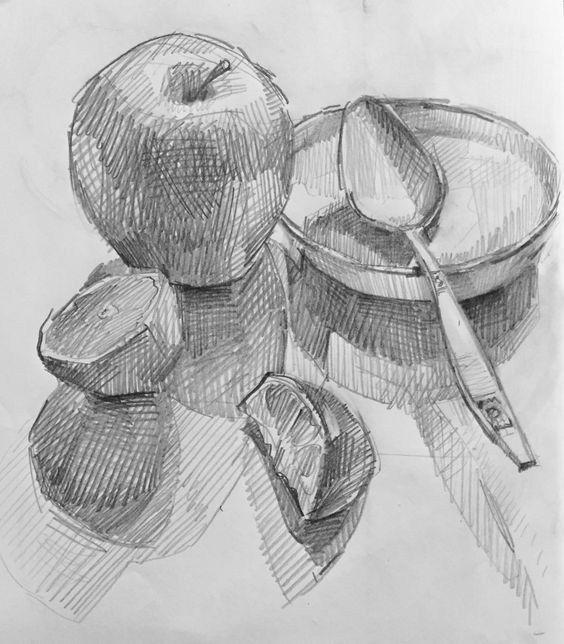 32 Fruit Pencil Drawing Ideas #Apple #FruitSketch #Grape # ...