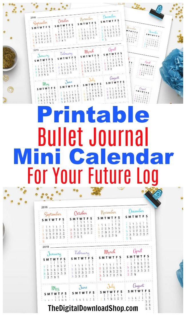 2019-2020 Bullet Journal Mini Calendars Printable | Bullet ...