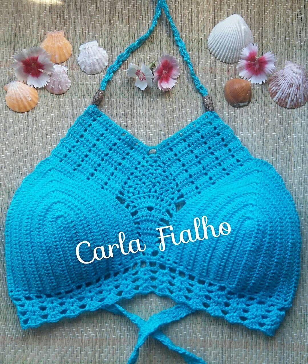 Cor linda top biquíni ☀ #lover #crochet #bikini #verão #modafeminina #modaparameninas #handmade #praias #styles #crochetbraids #azul #tøp #instagramq8 #crocheting #beach #sole #girlsbestfriend