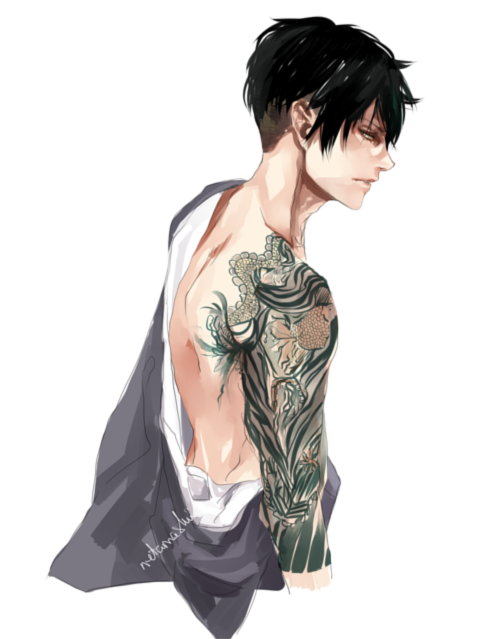 l-e-v-i-ackerman:  netamashii:  levi with tattoos for l-e-v-i-ackerman  (눈▽눈)