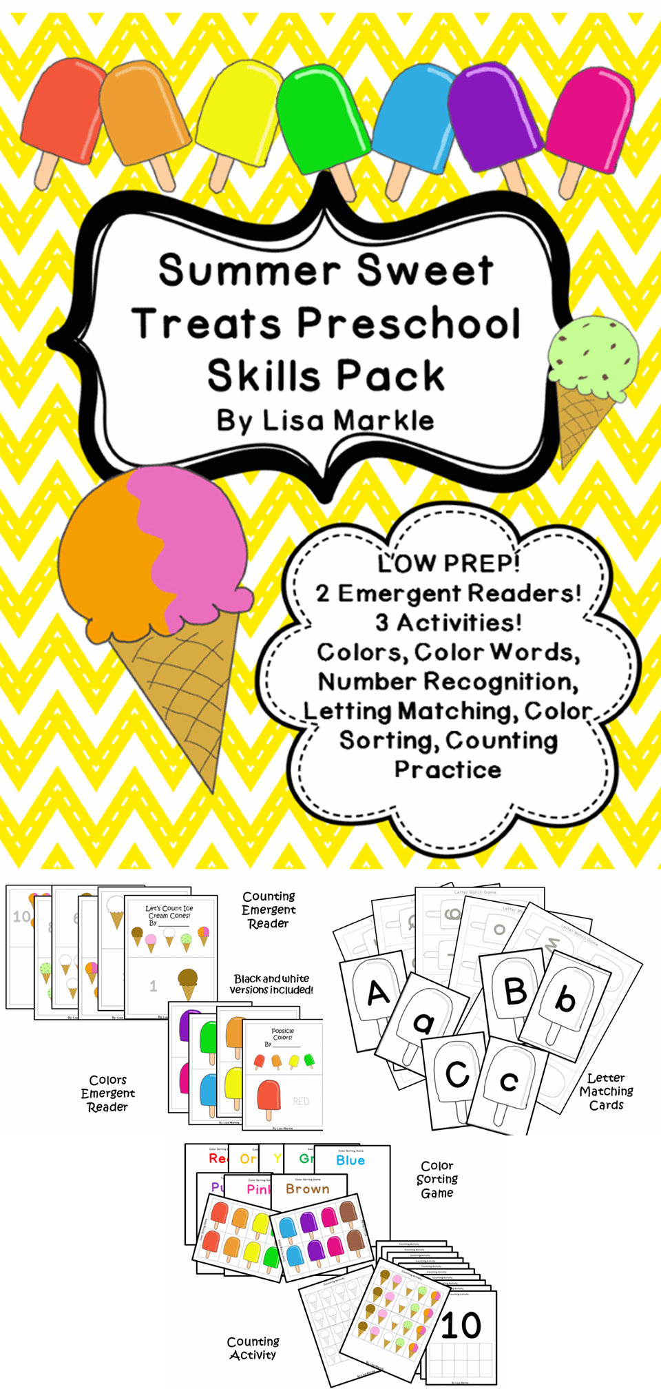 Summer Sweet Treats Preschool Math And Literacy Skills Pinterest