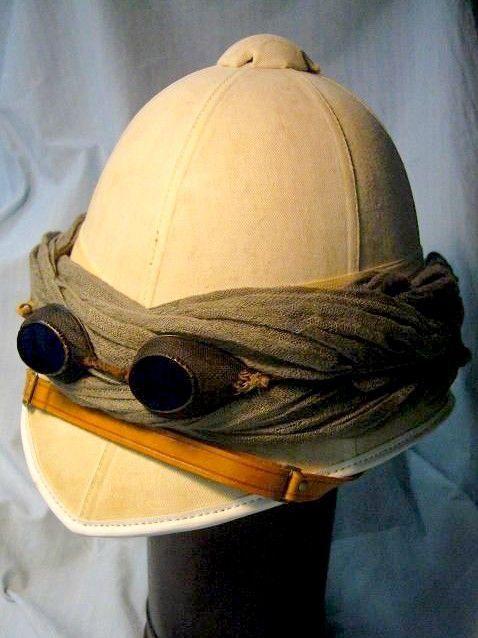 7113b2f3917cb Edwardian Vintage Solar Pith Helmet Topee Shariff Madras British Raj India  C1920