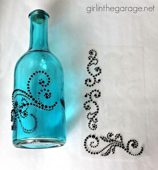 Bejeweled Bottles {Pinterest-inspired Craft From Michaels}   Bottle on car craft designs, baby craft designs, german craft designs, letter d designs, beer can craft designs, glass craft designs, plastic craft designs,