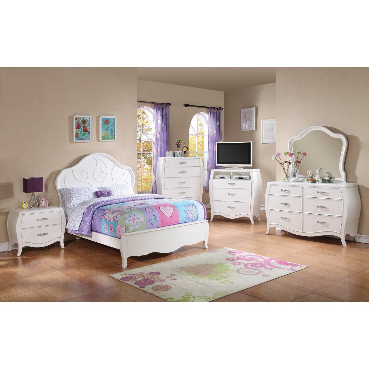 danielle bedroom bed dresser u0026 mirror white full