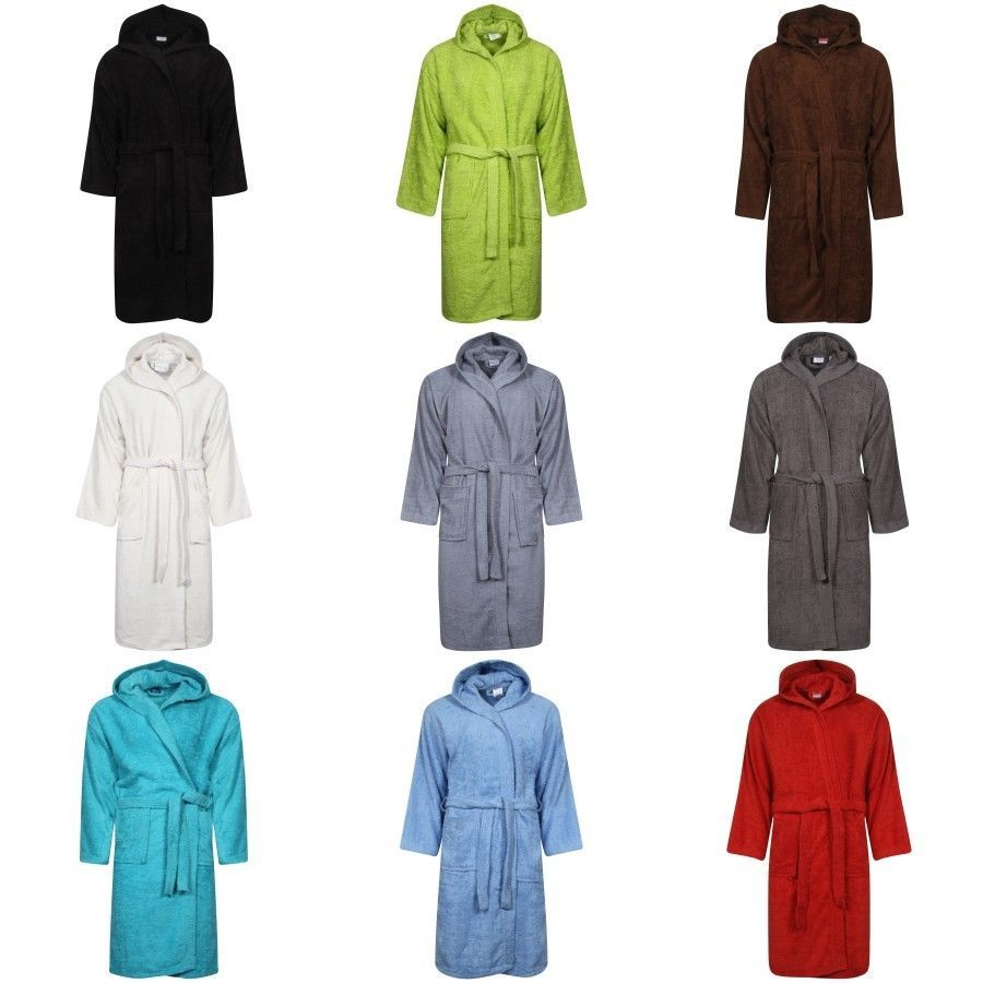 2e1348531e BATH ROBE LADIES MENS 100% EGYPTIAN COTTON TERRY TOWELLING HOODED SOFT  ABSORBENT