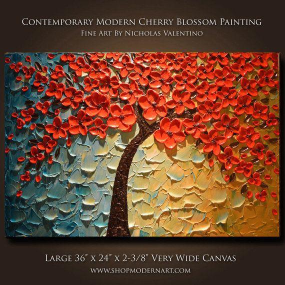 Cherry Blossom Tree 36 X 24 X 2 3 8 Very Etsy Modern Art Canvas Painting Flower Painting Diy Canvas Art