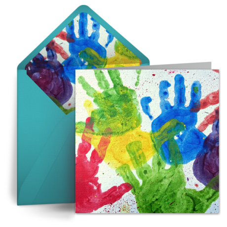 Finger Painting For Dad From Punchbowl E Cards Pinterest