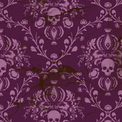 Orchid and Purple Skull Damask Distressed by elizabeth, Spoonflower digitally printed wallpaper