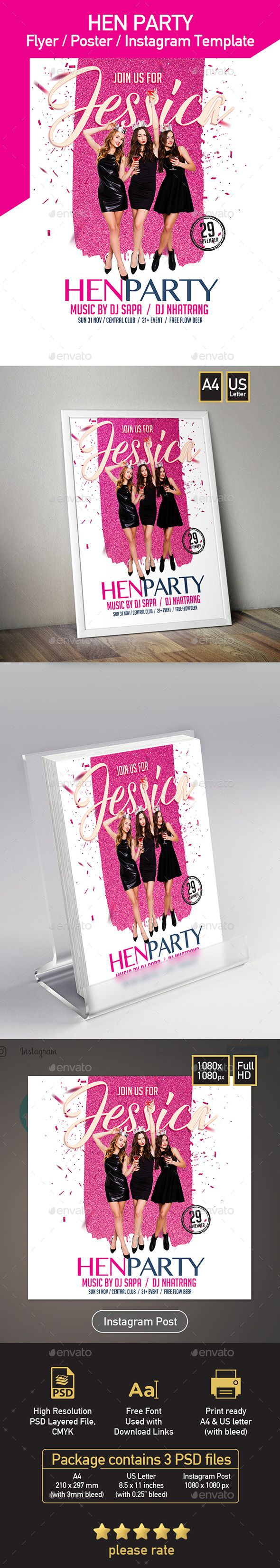 Hen Party Flyer Invitation Poster  Set Of  Templates  Letter