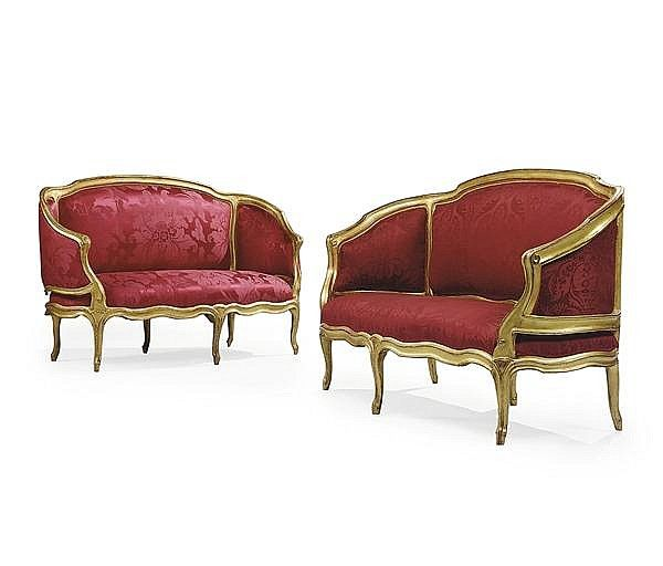 A Matched Pair Of Louis Xv Giltwood Canape Corbeille Sofas And Chairs Louis Xv Seat Cover